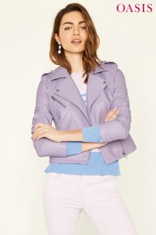 Oasis Purple Faux Leather Jacket