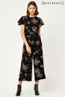 Warehouse Black Marianne Spaced Floral Jumpsuit