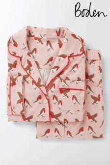 Boden Milkshake Robins Cosy Woven Pyjama