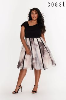 Coast Curve Black Maude Print Organza Dress
