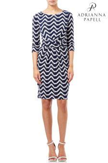 Adrianna Papell Blue Beading Beauty Pleated Sheath Dress