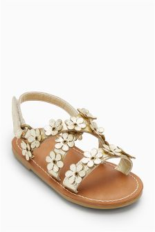 Leather Flower Sandals (Younger Girls)