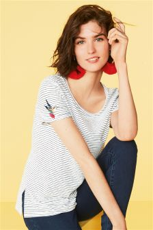 Stripe Embroidery Top