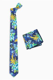 Floral Tie And Pocket Square