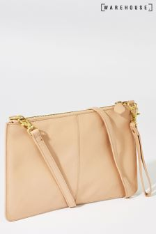 Warehouse Nude Leather Top Zip Cross Body Bag