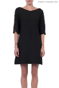 French Connection Black Dominica Cluster 3/4 Sleeve Dress