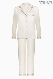Figleaves Cream Ava Silk Revere Pyjama Set