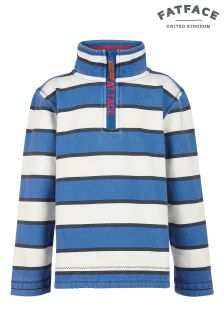 Fat Face Ecru Jamie Stripe Half Neck Sweat Top