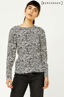 Warehouse Black/White Zebra Print Puff Sleeve Top