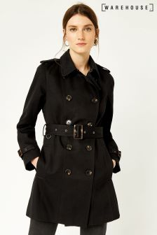 Warehouse Black Trench Coat