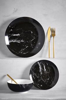 12 Piece Marble Effect Dinner Set
