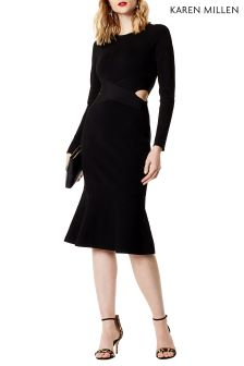 Karen Millen Black Cut Out Flared Hem Knit Dress