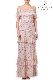 Adrianna Papell Blush Sleeveless Embellished Tiered Evening