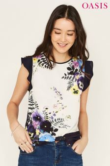Oasis Natural Kaya Placement Frill Sleeve Top