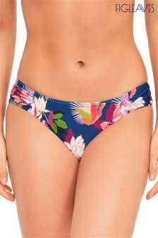 Figleaves Blue Luana Tropical Ruched Side Brief