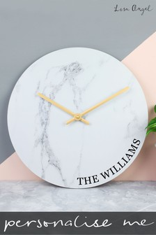 Personalised Marble Wall Wall Clock By Lisa Angel