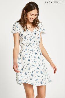 Jack Wills White Perwent Dobby Tea Dress