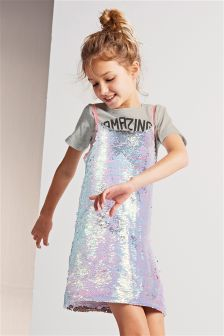 Sequin Dress And T-Shirt (3-16yrs)
