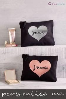 Personalised Small Heart Make Up Bag