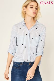 Oasis Black Ticking Stripe Embroidered Star Shirt