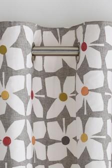 Retro Geo Floral Eyelet Curtains