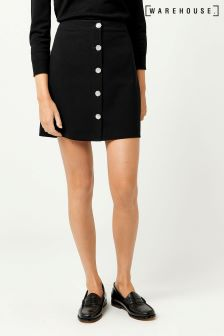 Warehouse Black Diamanté Button Skirt
