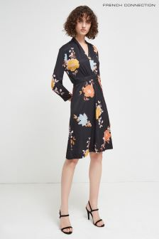 French Connection Black Multi Slinky Jersey Dress