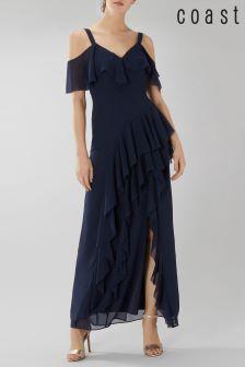 Coast Blue Illy Ruffle Cold Shoulder Dress
