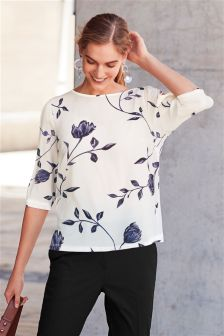 Split Sleeve Printed T-Shirt