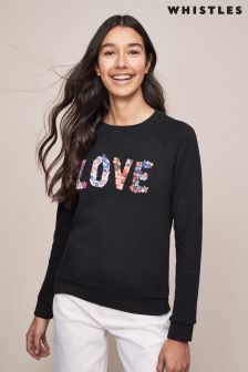 Whistles Love Ditsy Floral Embroidered Sweatshirt