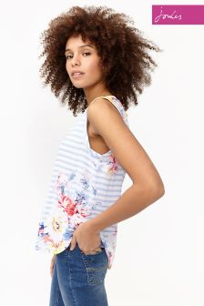 Joules White Whitstable Floral Alyse Cap Sleeve Shell Top