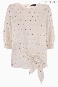 Mint Velvet Tie Front Spot Shirt