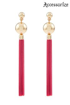 Accessorize Coloured Chain Tassel Earrings
