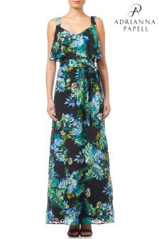 Adrianna Papell Black Multi Tropical Printed Maxi Dress