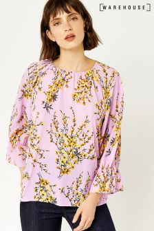 Warehouse Lilac Sweetpea Puff Sleeve Top