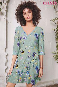 Oasis Green Pressed Flower Wrap Tea Dress