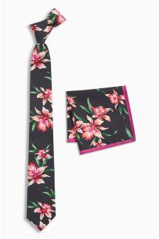 Floral Cotton Tie And Pocket Square Set