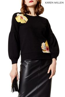 Karen Millen Black Floral Embroidered Sweat
