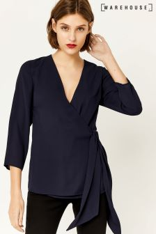 Warehouse Navy Wrap Top