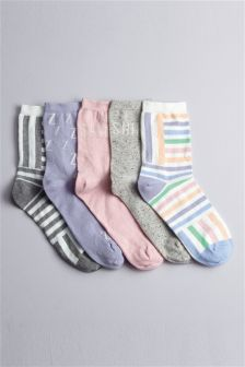 Pastel Snooze Ankle Socks Five Pack