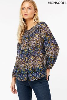 Monsoon Blue Josephine Ditsy Print Top