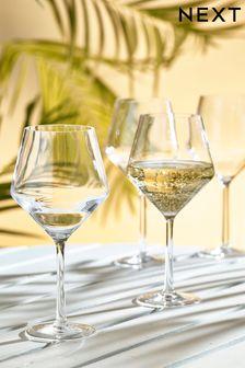 Set of 4 Faceted Plastic Wine Glasses