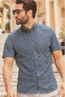 Short Sleeve Ditsy Floral Print Shirt