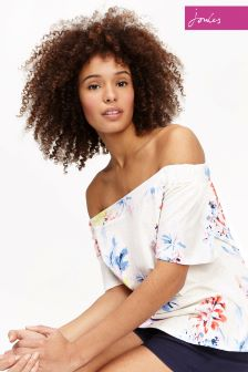 Joules Cream Floral Bandeau Oona Jersey Top