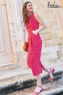 Boden Carnival Pink Scattered Spot Camille Midi Dress