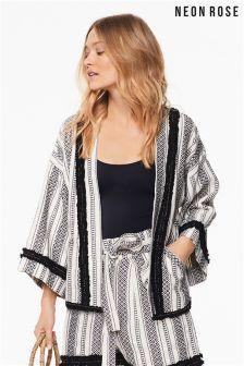 Neon Rose Multi Stripe Kimono Jacket