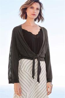 Tie Front Kimono Cardigan