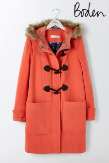 Boden Melon Crush Wool Duffle Coat