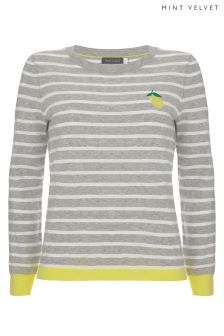 Mint Velvet Grey Lemon Stripe Motif Knit Jumper