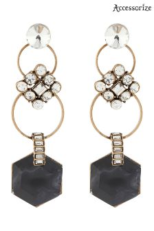 Accessorize Black Katie Crystal Statement Earring